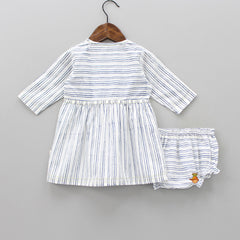 Organic Striped Jhabla And Bloomer Set