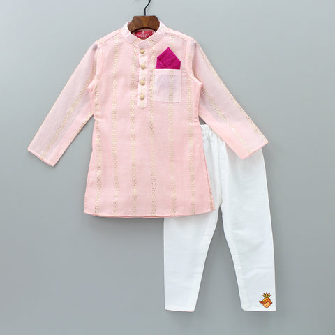 Pre Order: Pink Kurta And White Pyjama
