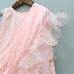 Pre Order: Pink Kurta And Sharara With Attached Frilly Dupatta