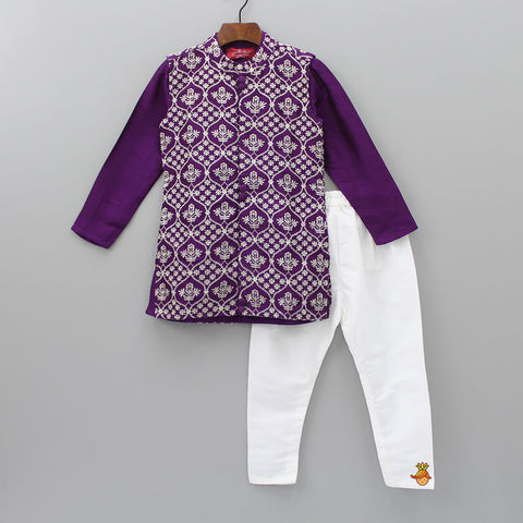 Pre Order: Kurta And Churidar With Embroidered Jacket