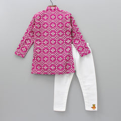 Pre Order: Embroidered Sherwani And White Pyjama