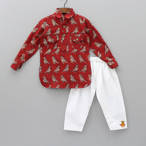 Bird Print Kurta And Pyjama