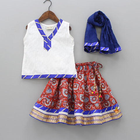 White Top And  Floral Printed Lehenga With Dupatta