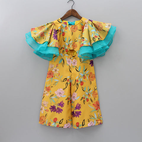 Pre Order: Floral Printed Dress With Ruffle Sleeves