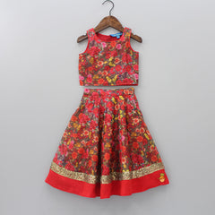 Floral Printed Top And Lehenga With Dupatta
