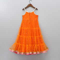 Orange Sequin Work Gown