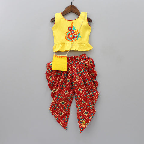 Embroidered Top And Printed Dhoti With Sling Bag