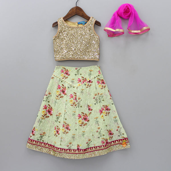 Sequin Top And Floral Printed Lehenga With Dupatta