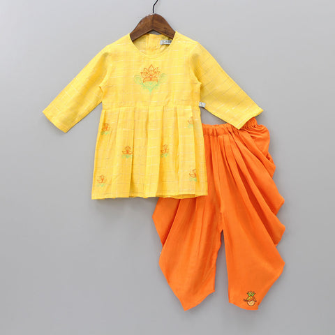 Pre Order: Floral Embroidered Checks Pattern Yellow Kurta And Patiala