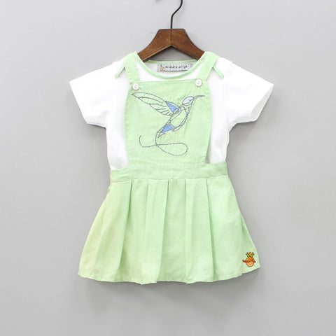 Pre Order: Bird Embroidered Pinafore Dress With Romper