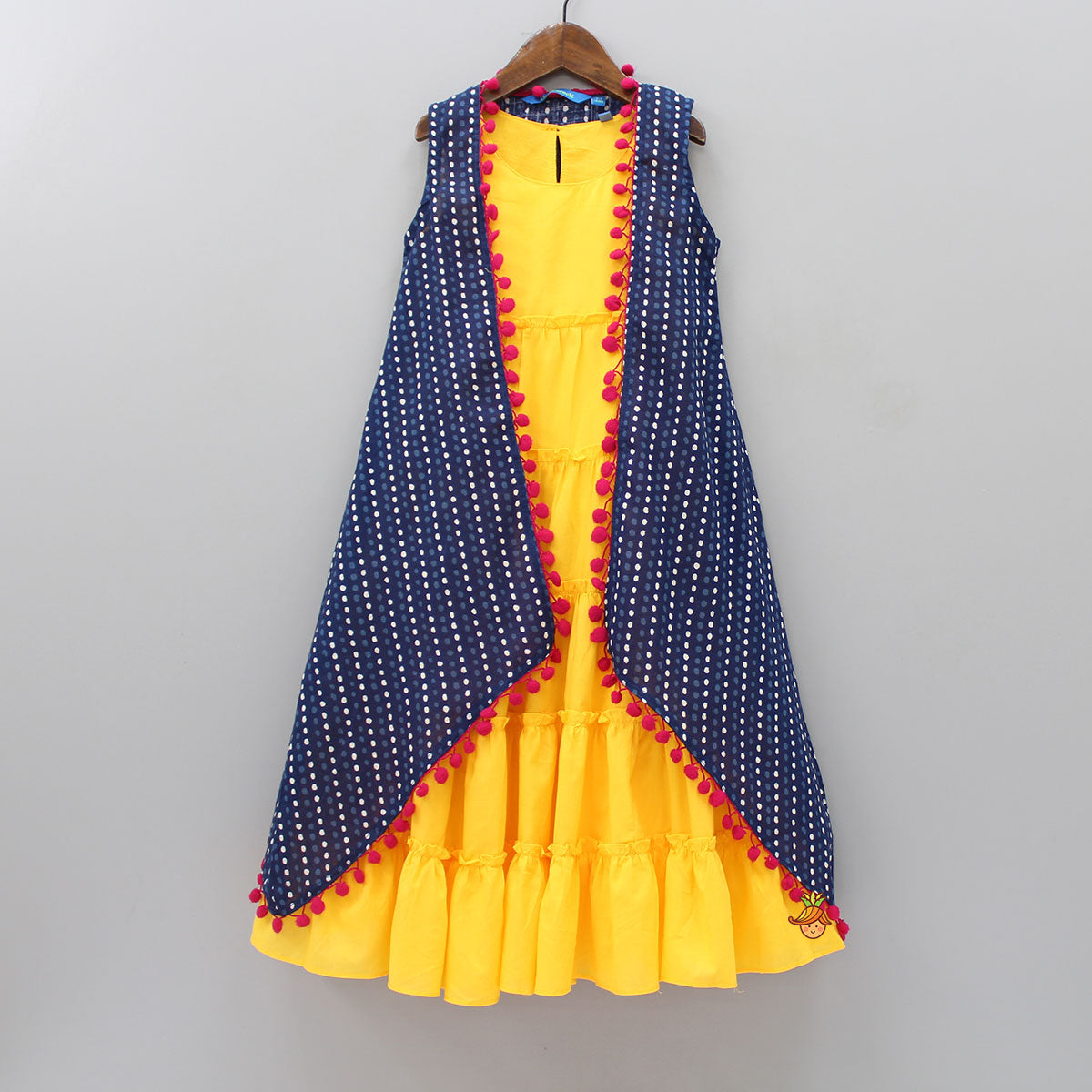 Tiered Yellow Gown With Printed Open Jacket
