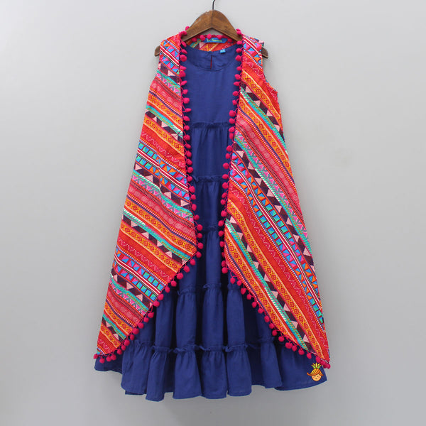 Tiered Blue Gown With Printed Open Jacket