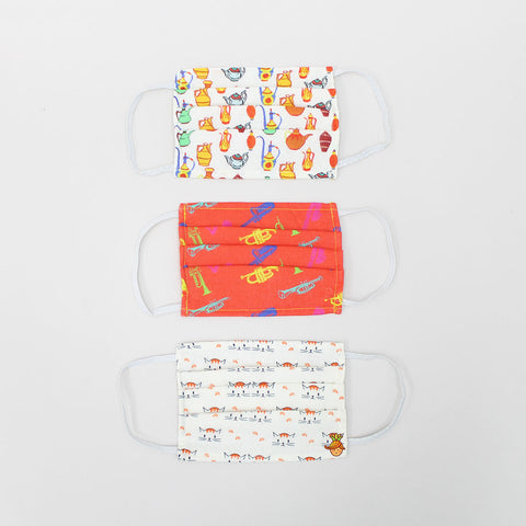 Set Of 3 Printed Cotton Mask - 2