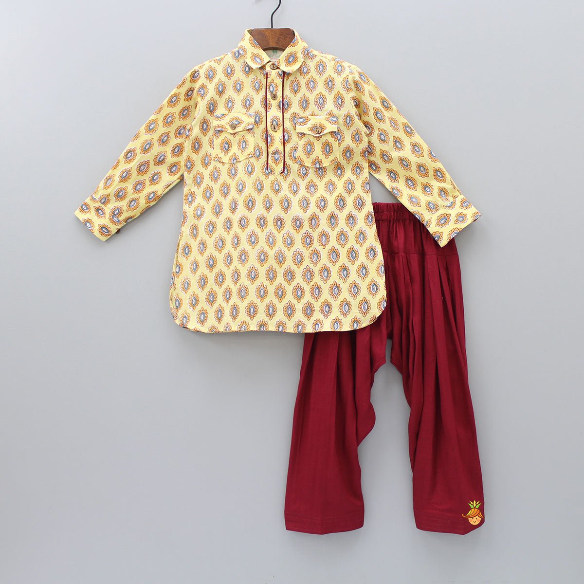 Floral printed Light Yellow Kurta And Maroon Patiala