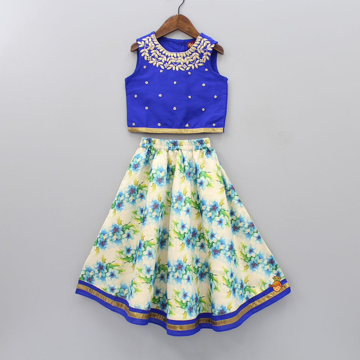 Floral Applique Top And Floral Printed Ghagra