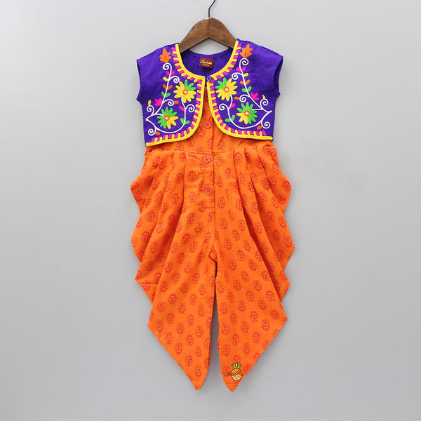 Printed Dhoti Style Jumpsuit With Embroidered Jacket