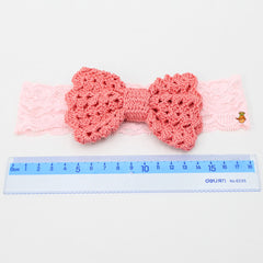Lacy Bow Peach Crochet Headband