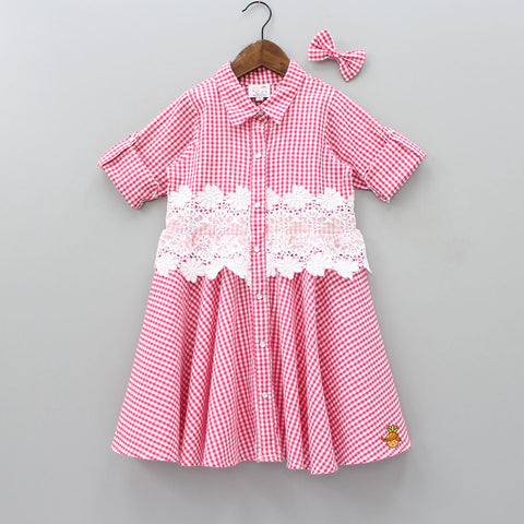 Pre Order: Checks And Lace Dress With Hair Clip