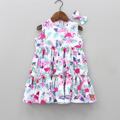 Pre Order: Flamingo Print Dress With Bowy Hair Clip