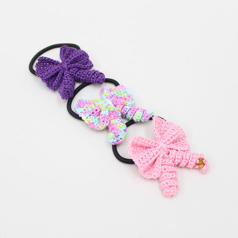 Crochet Curly Bows 3 Hair Ties Set - 1