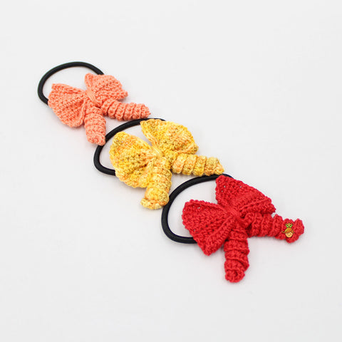 Crochet Curly Bows 3 Hair Ties Set - 2