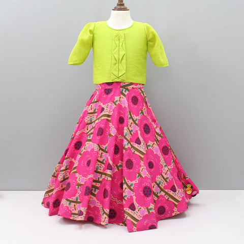 Pre Order: Stylish Top And Floral Printed Ghagra