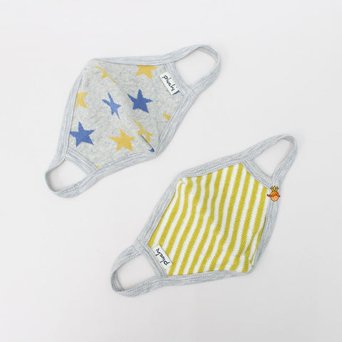 Striped And Star Printed Cotton Mask - Set Of 2