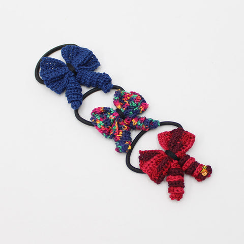 Crochet Curly Bows 3 Hair Ties Set - 4