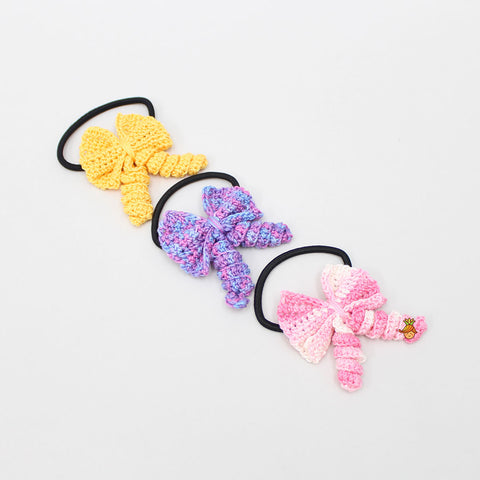 Crochet Curly Bows 3 Hair Ties Set - 3