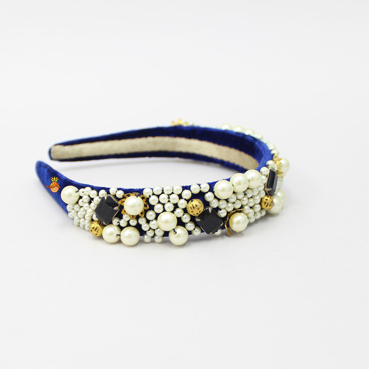 Pearls And Stone Dark Blue Velvet Hair Band