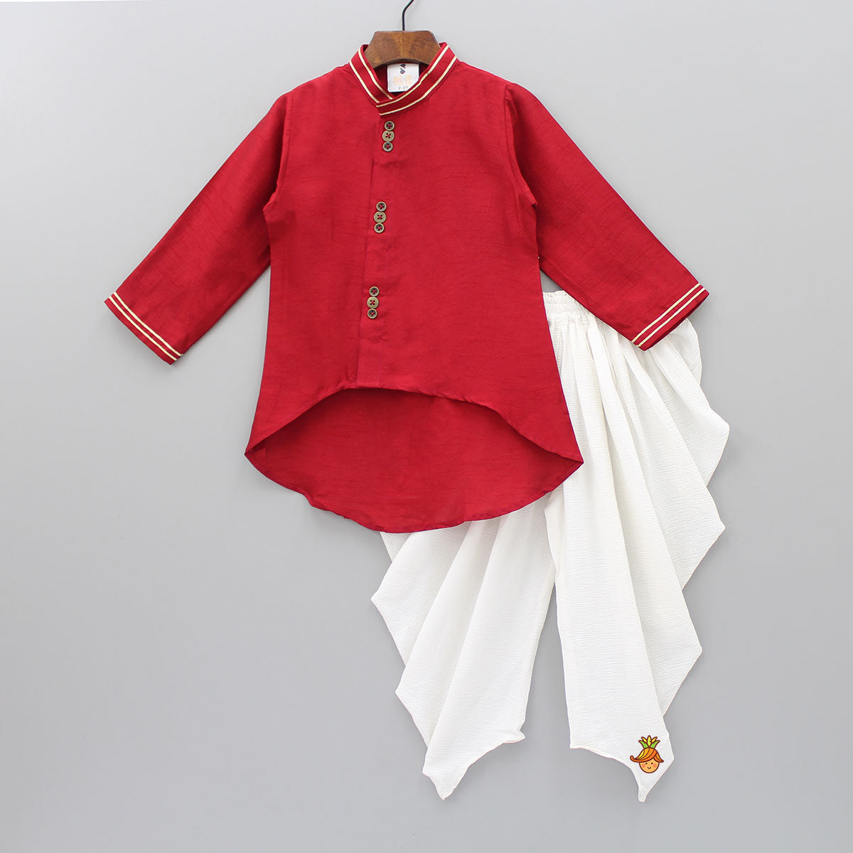 Pre Order: Asymmetric Kurta And White  Patiala
