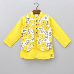 Pre Order: Kurta With Marigold Printed Attached Jacket And Pyjama