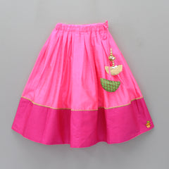 Pre Order: One-Shoulder Rosy Top And Ghagra
