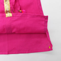 Pink Kurta And Orange Lehenga With Dupatta