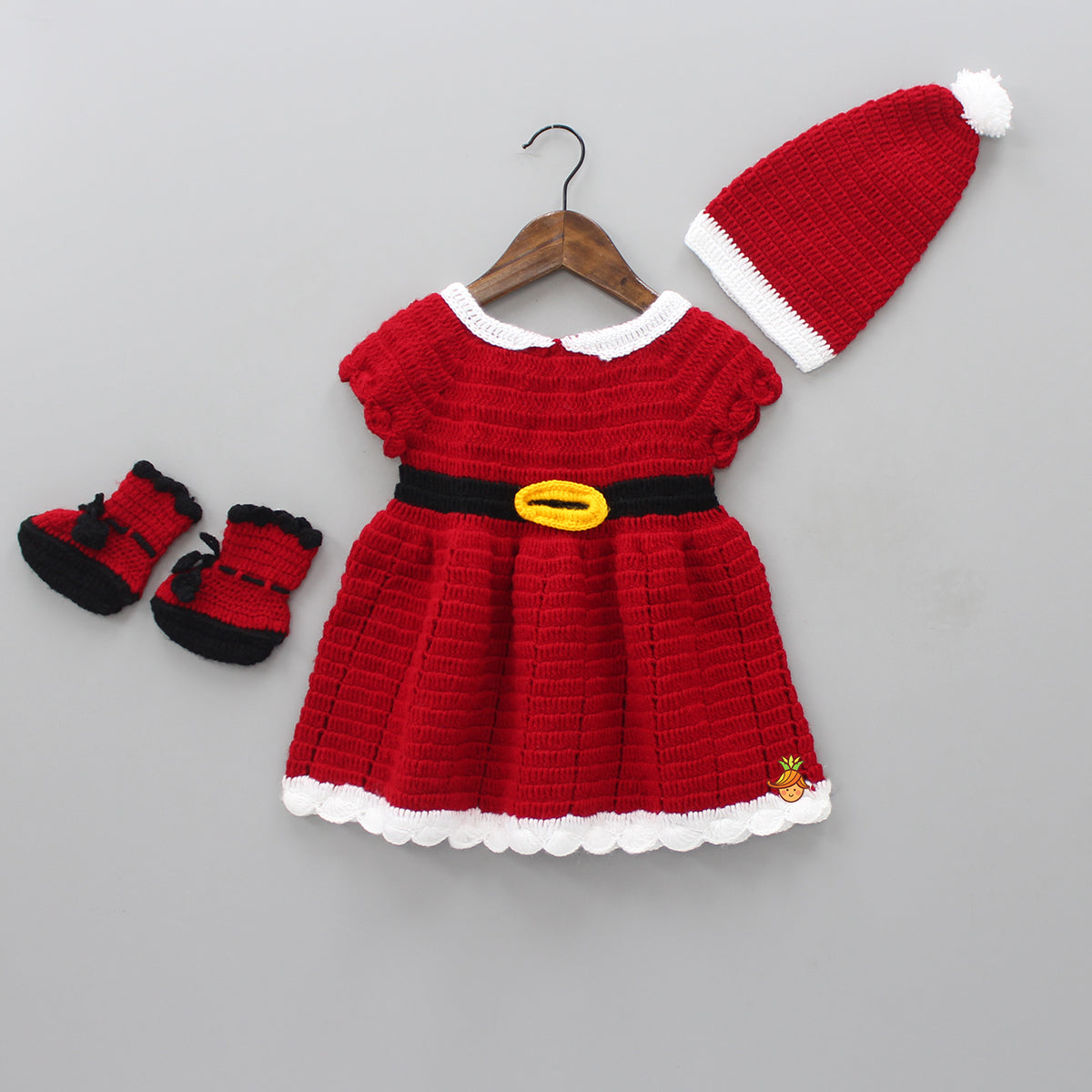 Red Knitted Santa Dress With Cap And Booties