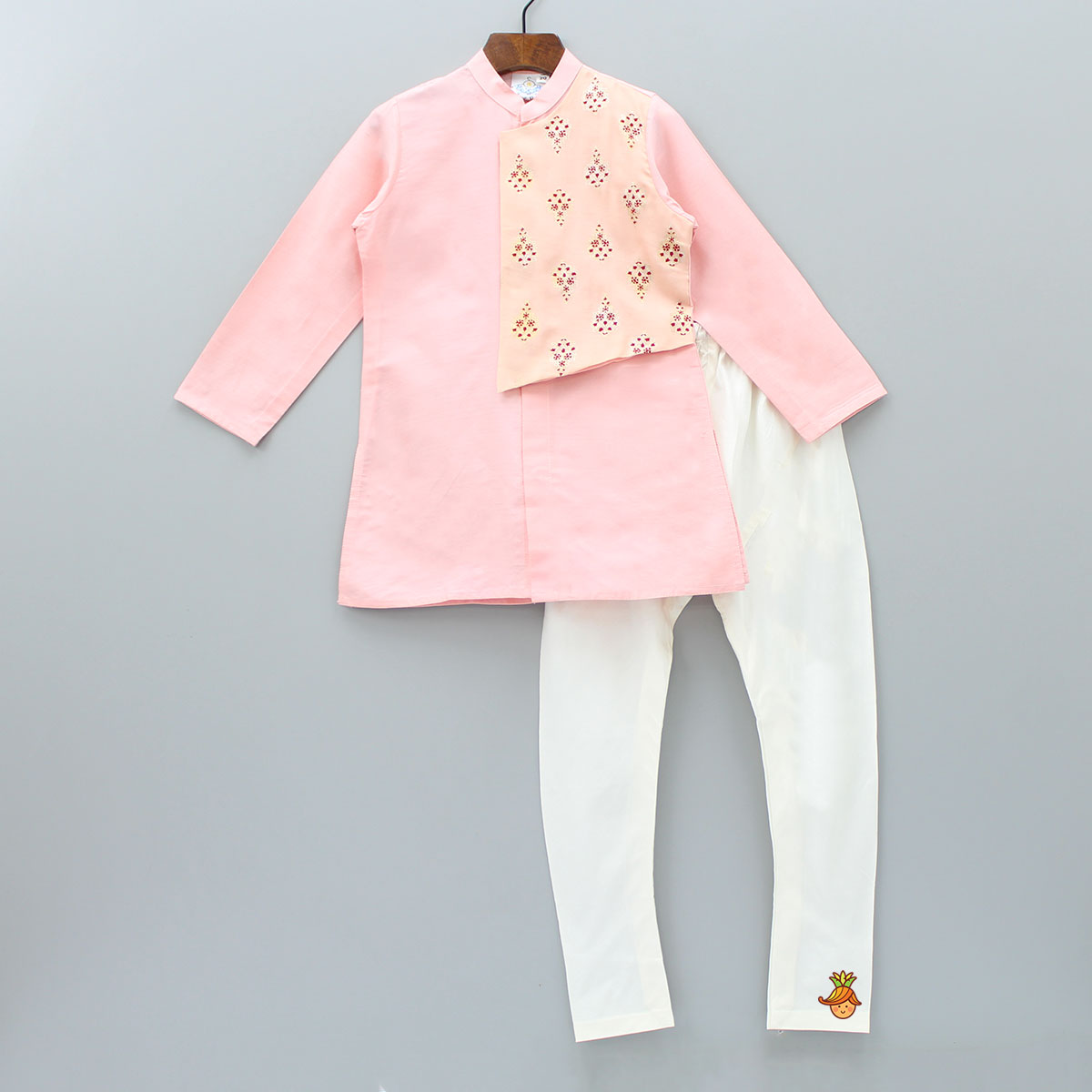 Pre Order: Pink Kurta With Attached Peach Jacket And Churidar