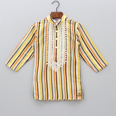 Pre Order: Striped Embroidered Kurta And Pyjama