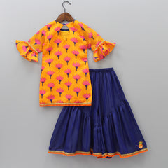Pre Order: Lotus Printed Kurta And Sharara With Dupatta And MaAsk