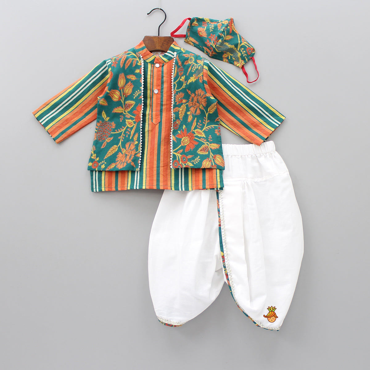 Striped Kurta With Floral Attached Jacket Dhoti And Mask