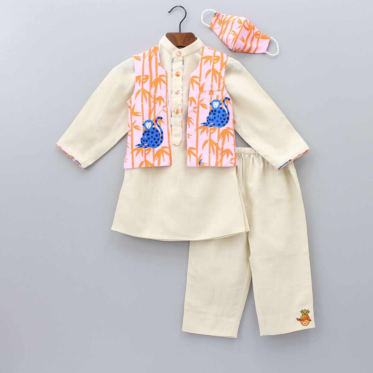 Pre Order: Kurta And Pyjama With Monkey Print Open Jacket And Mask