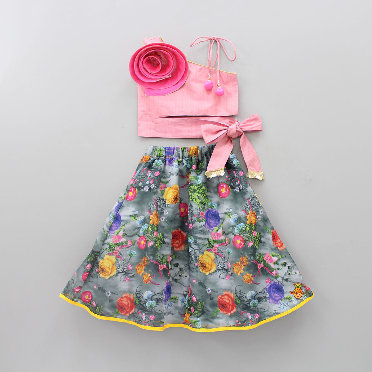 Pre Order: Pink Top Grey Lehenga With 3D Flower