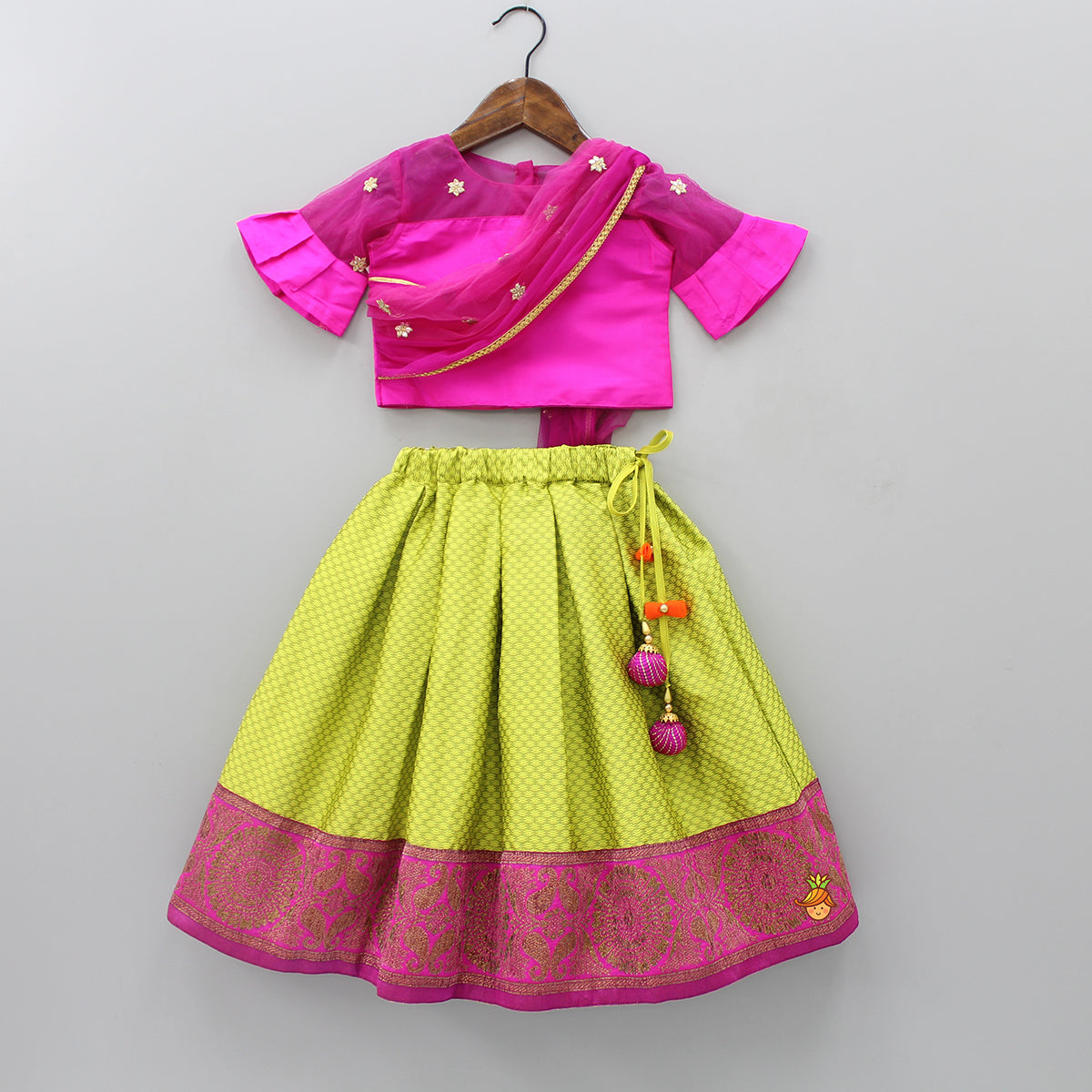 Pre Order: Pink Top With Attached Dupatta And Green Ghagra