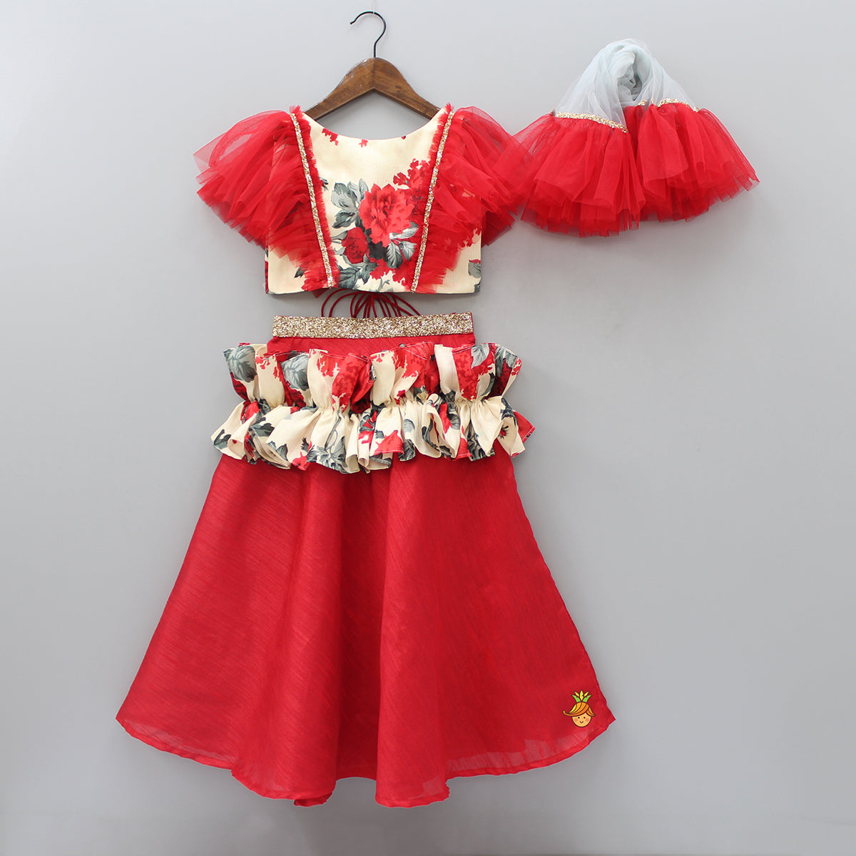 Red Ghagra With Frilled Top And Dupatta