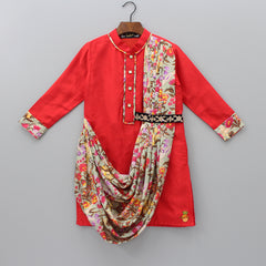 Pre Order: Kurta With Printed Cowl And Churidar