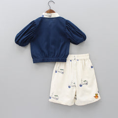 Pre Order: Organic Scooter Print Shorts Set With Mask And Headband