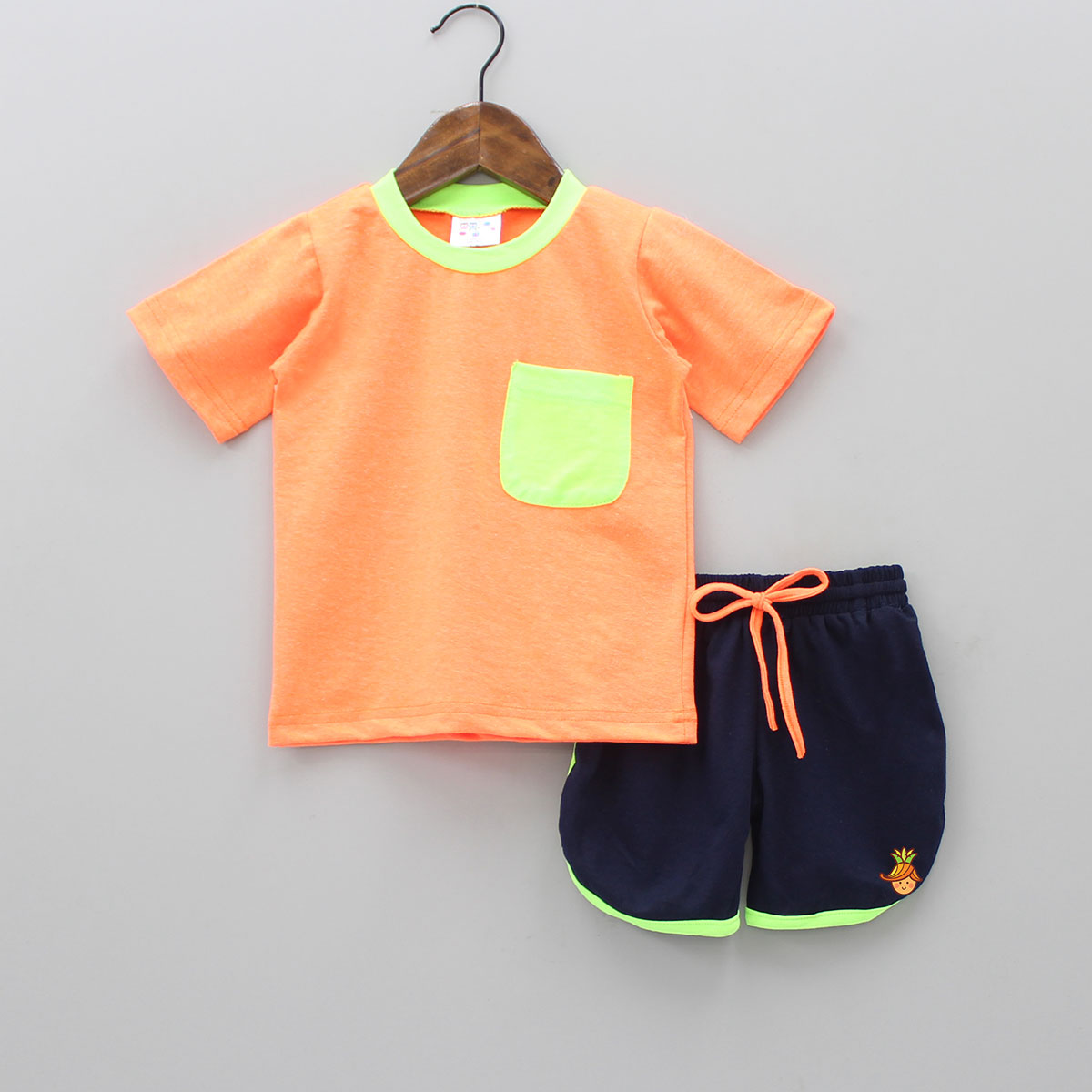 Neon Orange Top And Shorts Set