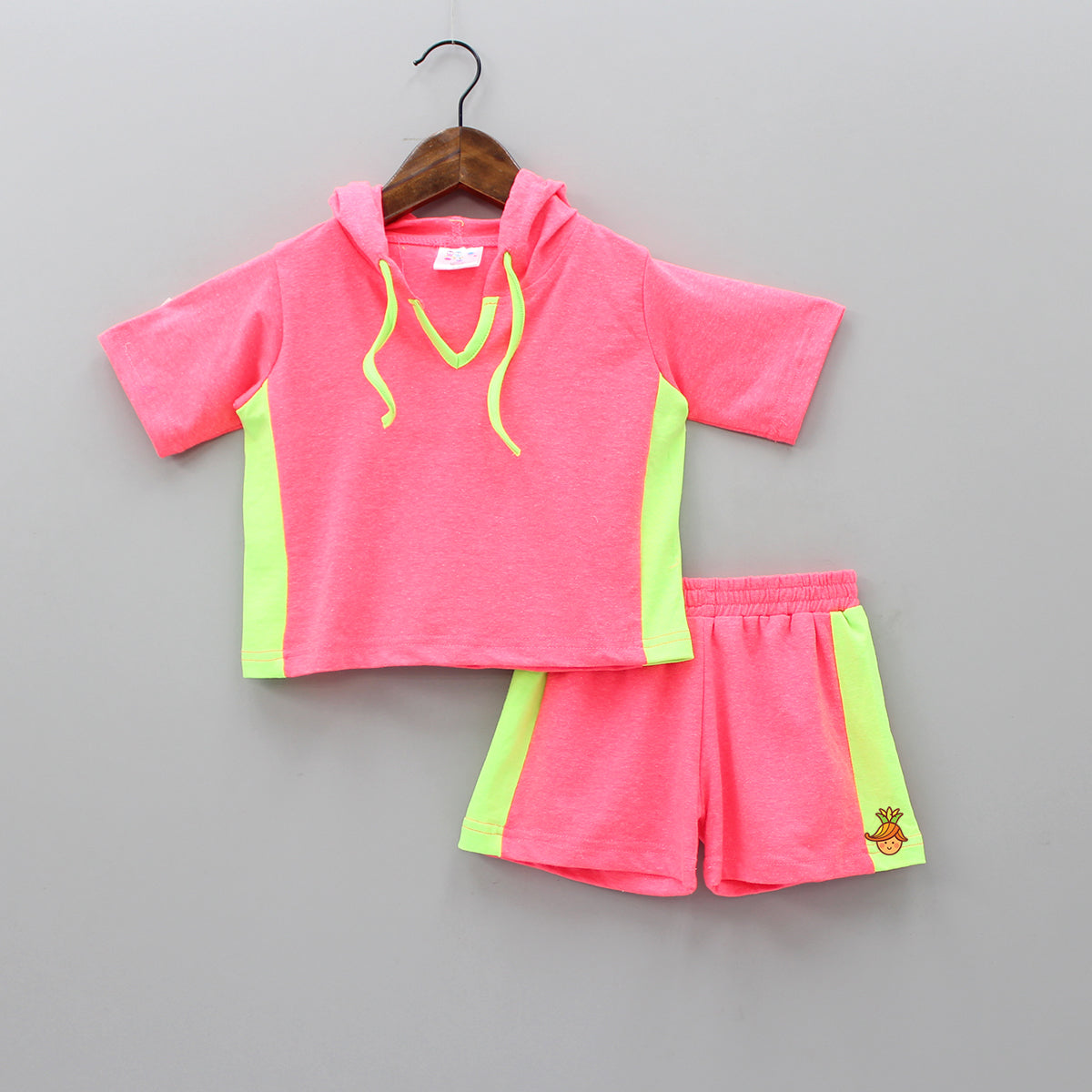 Neon Pink Hoodie Top With Shorts Set