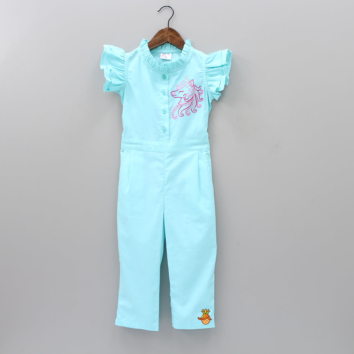 Blue Unicorn Embroidered Jumpsuit