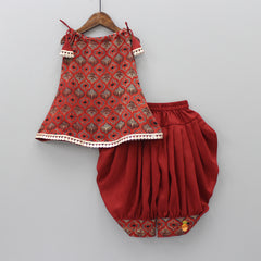 Pre Order: Printed Kurti With Adjustable Neck And Dhoti With Mask