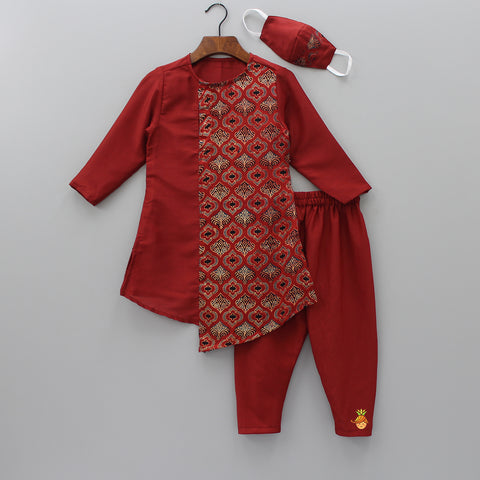 Pre Order: Printed Kurta And Churidar With Mask